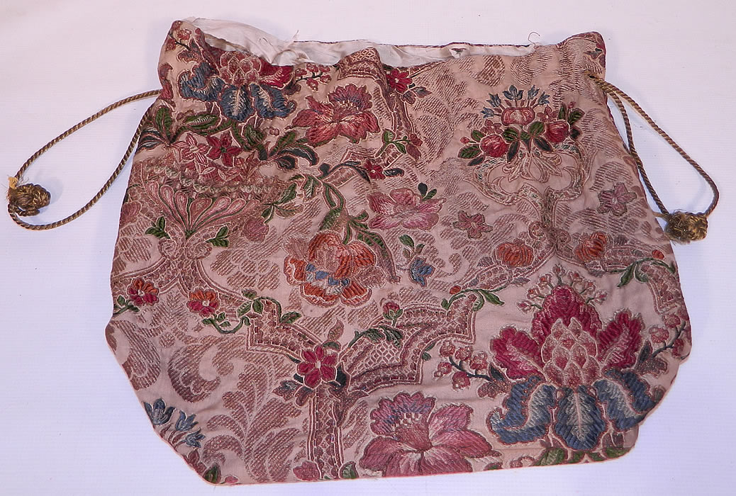Victorian Antique  Silk Damask Brocade Jacobean Tapestry Fabric Bag Purse.It is made of a colorful woven silk damask brocade tapestry French fabric with gold metallic thread weave floral pattern Jacobean designs.