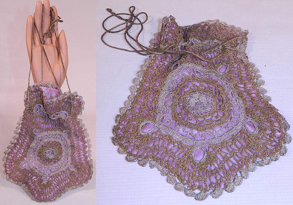 Vintage  Gold & Silver Lamé Lame Crochet Lace Reticule Flapper Bag Purse. This vintage gold and silver lamé crochet lace reticule flapper bag purse dates from 1920s. It is made of gold and silver lamé metallic threads hand knit into a loose weave crochet lace circular design on both sides.