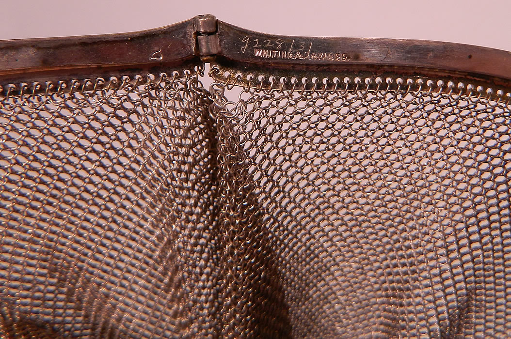 Vintage Whiting & Davis Co Silver Mesh Chainmail Flapper Purse
