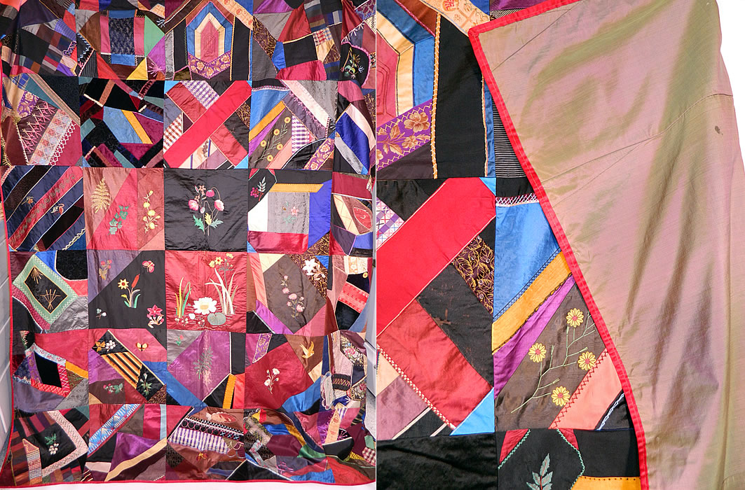 Victorian Antique Silk Embroidered Fancy Needlework Applique Crazy Quilt 