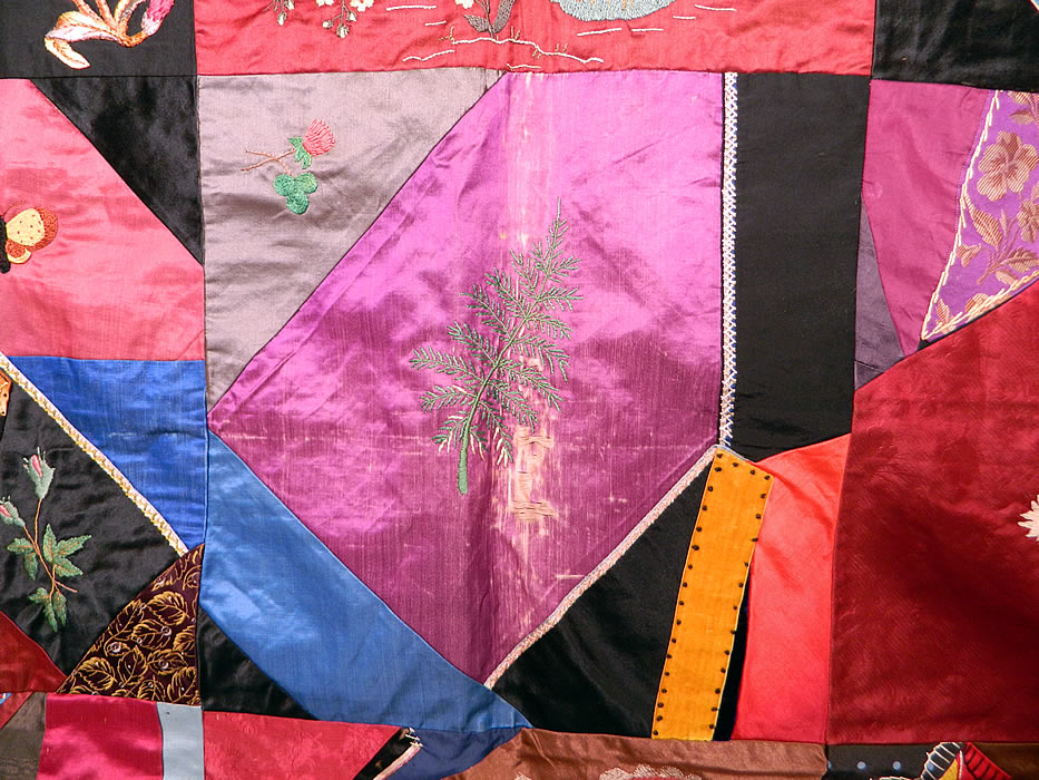 Victorian Antique Silk Embroidered Fancy Needlework Applique Crazy Quilt It is in good condition, with only 3 frayed damaged pieces (see close-ups).