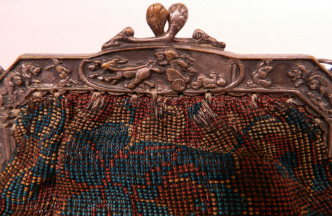 Antique Silver Plate Repousse Dog Cart Frame Floral Needlepoint Embroidery Purse