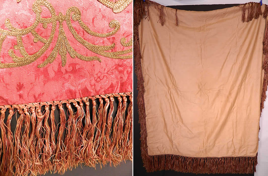Antique Red Silk Brocade Gold Lamé Lame Rosette Ribbon Work Flower Basket Tablecloth
