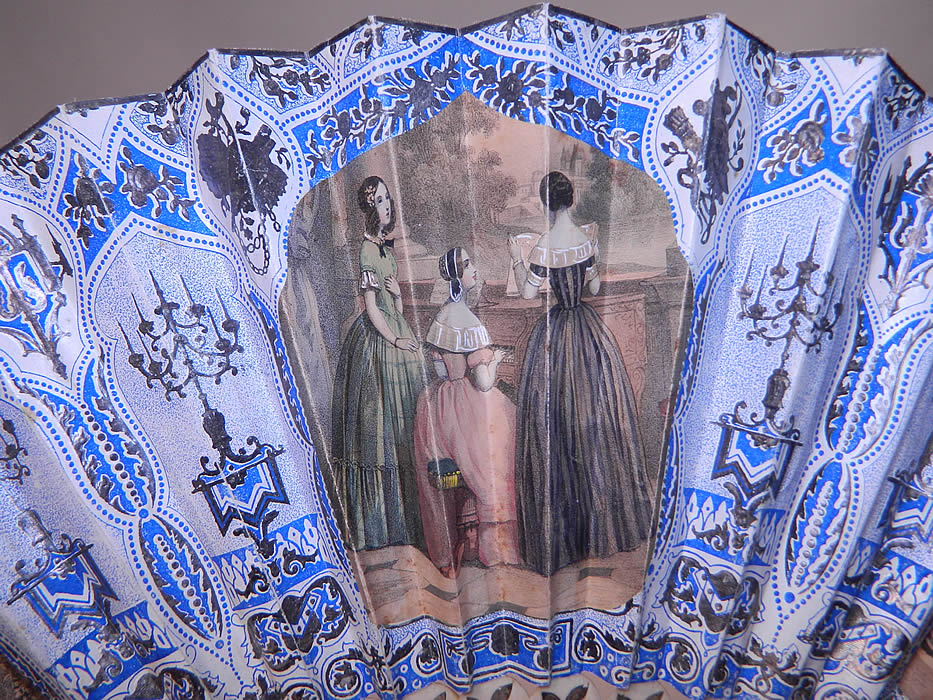 Victorian Lithograph Silver Foil Inlay Pierced Pleated Folding Fan