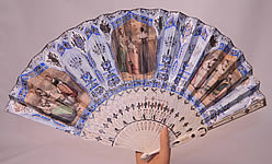 Victorian Antique Hand Painted Lithograph Silver Foil Inlay Pierced Pleated Folding Fan