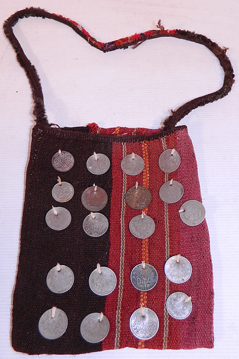 Antique Bolivia Silver Coin Chuspa Coca Woven Weave Bag