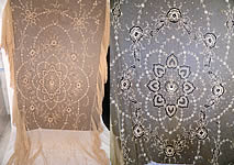 Antique Cream Net Tambour Embroidery Lace Floral Cutwork Bedspread