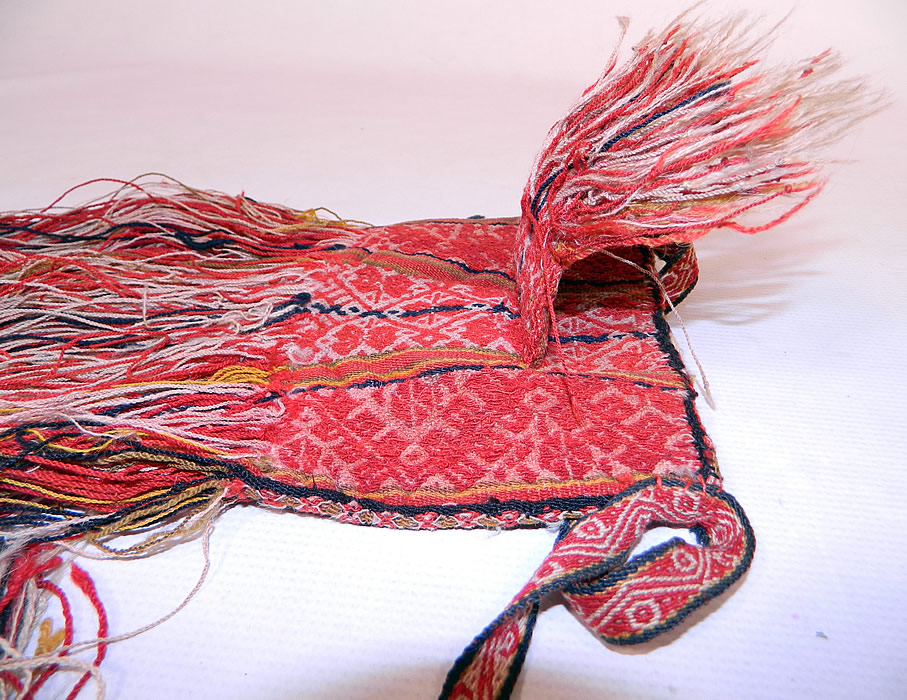Antique Bolivia Chuspa Coca Red Wool Woven Weave Hand Loom Fringe Boho Bag