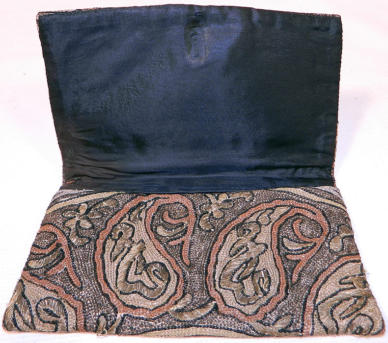 Antique Ottoman Turkish Tugra Chain Stitch Metal Thread Embroidery Clutch Purse