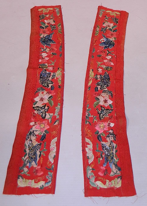 Antique Chinese Red Silk Butterfly Embroidered Wedding Robe Sleeve Band Cuff Pair
