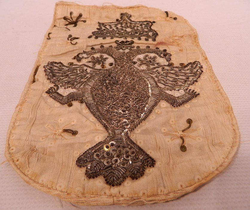 Antique 18th Century Silver Stumpwork Beaded Heraldic Heraldry Coat of Arms Russia
