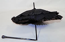 Victorian Civil War Antique Black Silk Ebony Folding Handle Marquis Mourning Parasol
