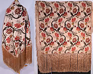 Antique 18th Century Style Silk Chenille Brocade Jacobean Fringed Shawl Throw