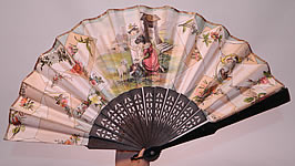 Victorian Lithograph Calling Cards Autograph Paper Pleated Folding Fan