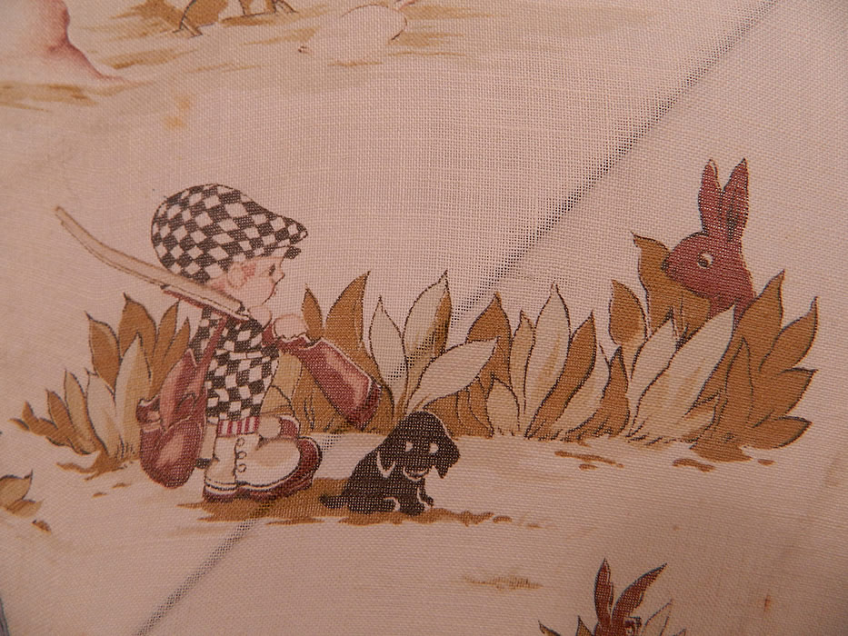 Vintage Chloe Preston Childrens Kewpie Illustration Print Linen Parasol