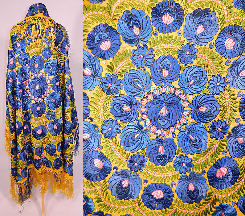 Antique Matyo Hungarian Folk Embroidery Fringe Large Square Shawl Tablecloth