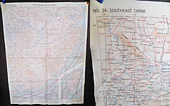 Vintage 1943 WWII Silk AAF Cloth Map Asiatic Series Southeast Northeast China