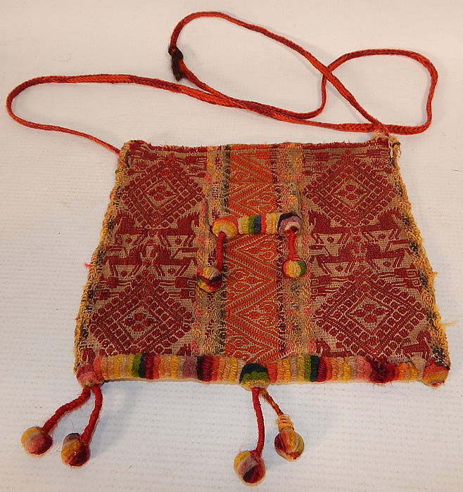 Antique Andean Bolivian Chuspa Coca Wool Weave Hand Loom Woven Horses Boho Bag