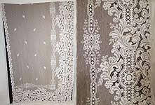 Vintage Antique White Lace Net Octagram Drapery Curtain Panel Pair 100x57