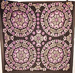 Antique Matyo Hungarian Folk Purple Embroidery Large Square Tablecloth