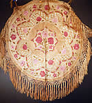 Antique Matyo Hungarian Folk Embroidery Pink Floral Fringe Round Tablecloth
