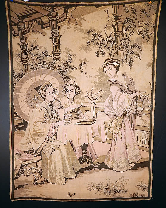 Vintage Made France Jacquard Loom Japanese Geisha Women Tea Garden Tapestry Wall Hanging