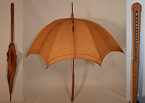 Edwardian Ecru Burlap Cloth Natural Straw Basketweave Handle Summer Parasol