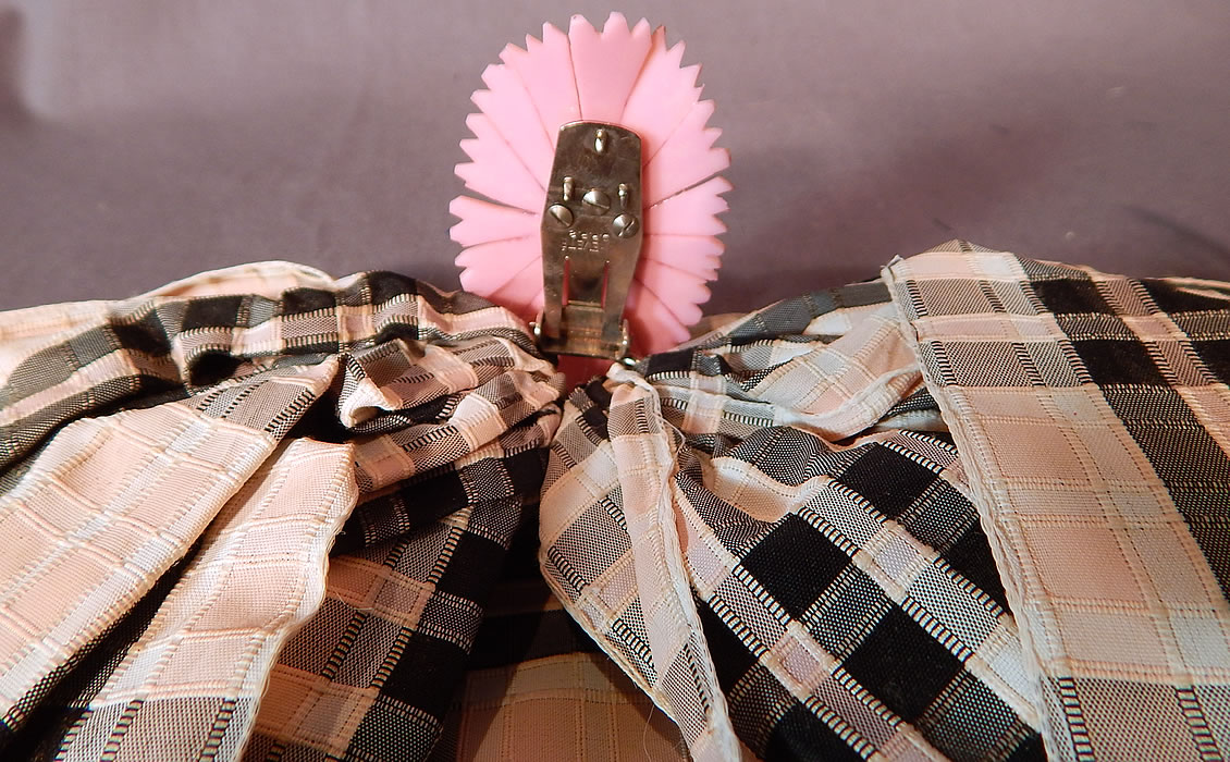 Vintage Paris France Pink & Black Plaid Check Silk Ribbon Bow High Neck Collar