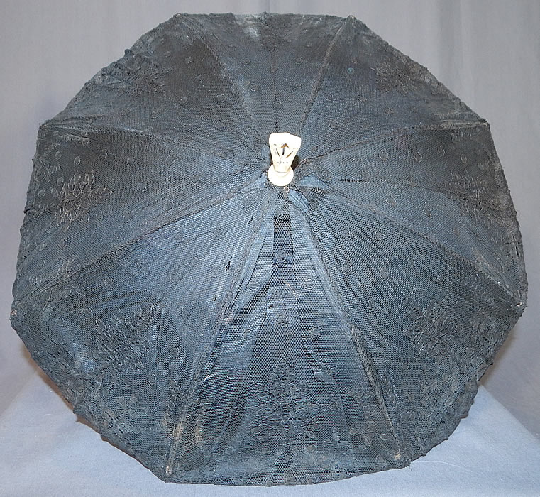 Victorian Antique Black Chantilly Lace Carved Pierced Finial Handle Parasol
