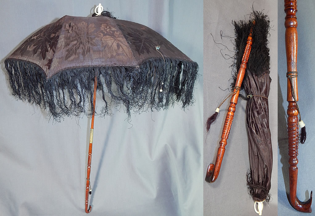 Victorian Antique Black Silk Damask Maple Leaf Carved Wood Folding Handle Parasol
