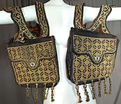 Moroccan Antique Gold Metallic Embroidered Double Saddle Messenger Bag
