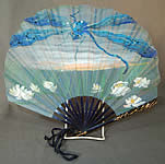 Vintage Art Nouveau Hand Painted Silk Dragonfly Water Lily Sequin Pleated Folding Fan