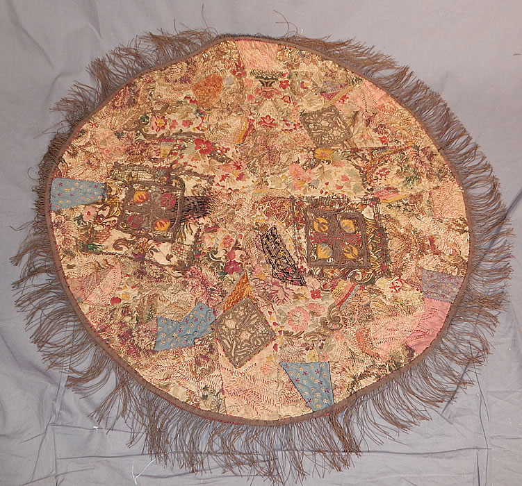 Antique 18th Century Textile Embroidered Patchwork Gold Bullion Round Tablecloth