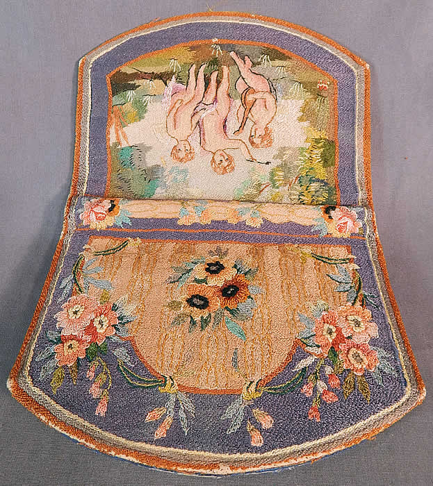 Vintage Angelic Cherub Cupid Petit Point Needlepoint Embroidered Clutch Purse
