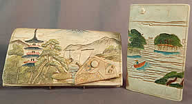Vintage Antique Japanese Hand Tooled Leather Painted Clutch Purse & Wallet