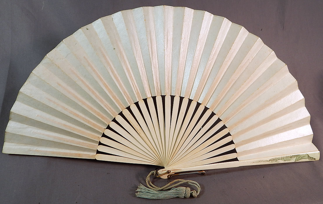Art Nouveau Asian Hand Painted Paper Lotus Flower Sequin Pleated Folding Fan