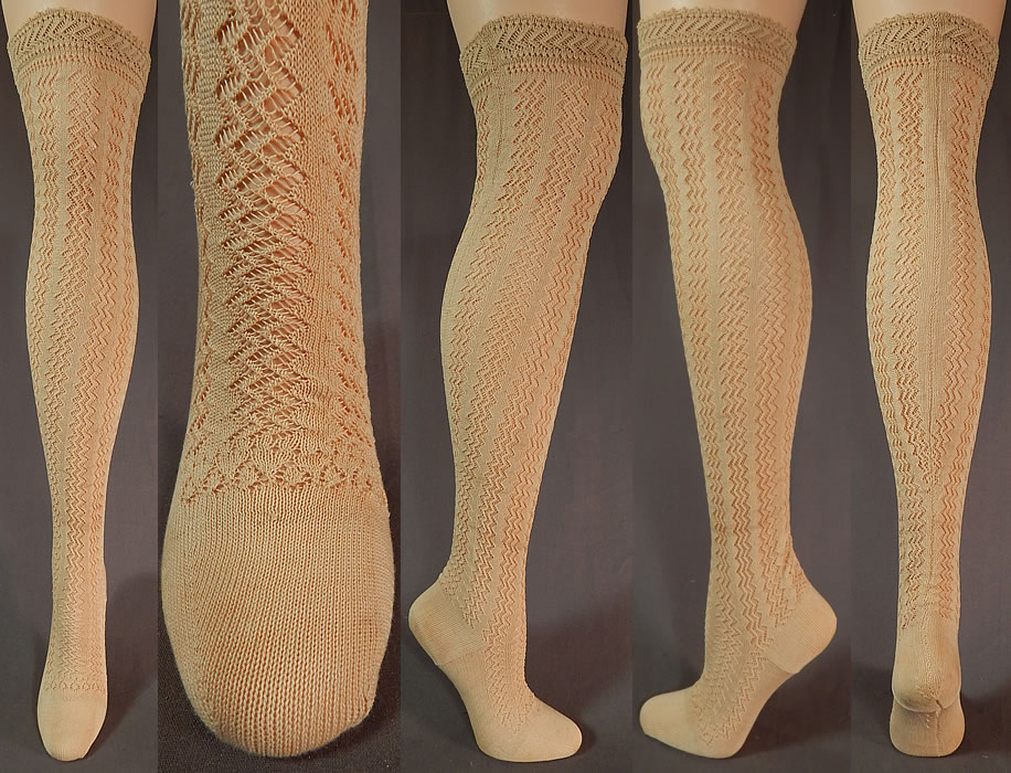 Victorian Ecru Cotton Knit Chevron Zigzag Pattern Thigh High Stockings Socks