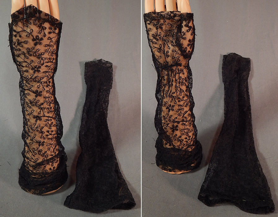 Vintage Black Net Tambour Embroidery Lace Long Fingerless Mitts Gloves