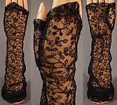 Vintage 1930s Black Net Tambour Embroidery Lace Long Fingerless Mitts Gloves