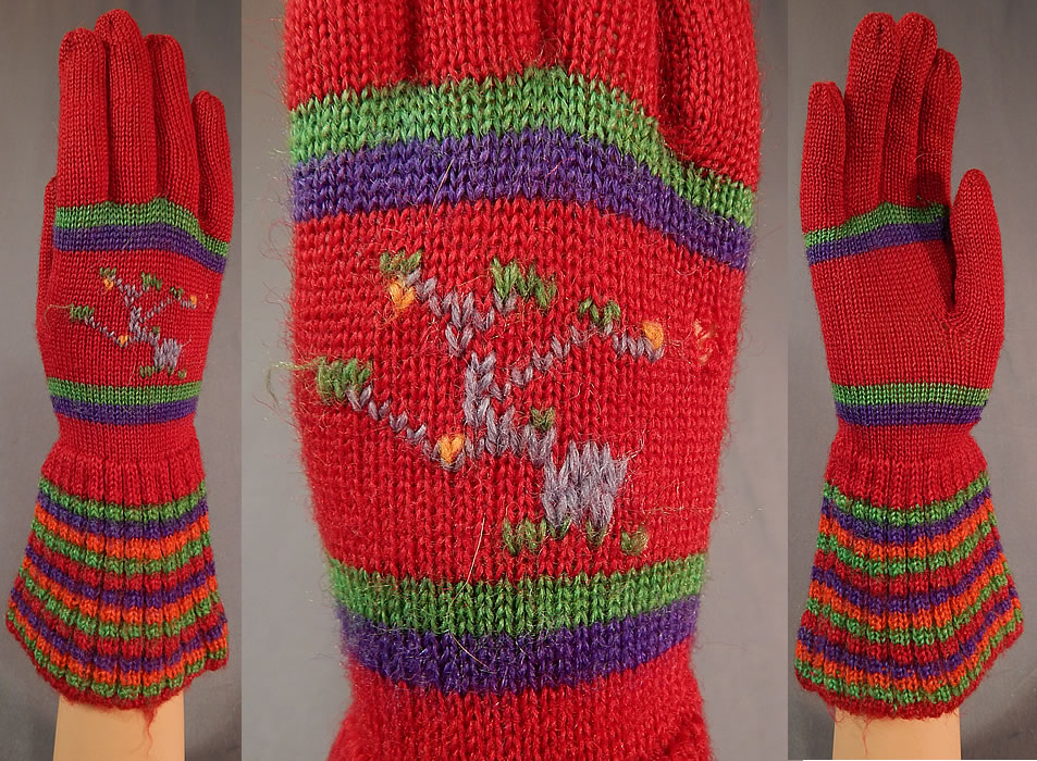 Vintage Womens Hand Knit Red Wool Colorful Stripe Winter Gauntlet Gloves