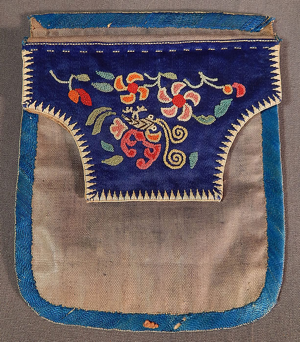 Antique Chinese Cinnabar Silk Forbidden Stitch Embroidery Pouch Purse Small Bag