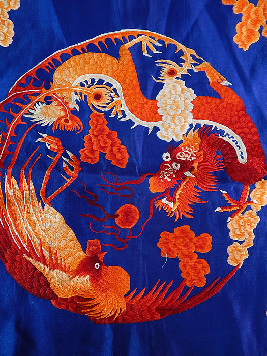 Antique Chinese Dragon Phoenix Yin Yang Silk Embroidered Fabric Square Badge