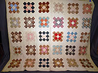 Victorian 1850 Antique Chintz Calico Cotton Fabric 12 Patch Square Block Quilt