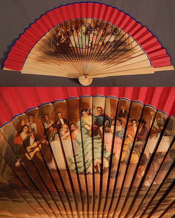 Vintage Spanish Flamenco Dancer Wood Transfer Print Pleated Fabric Folding Fan