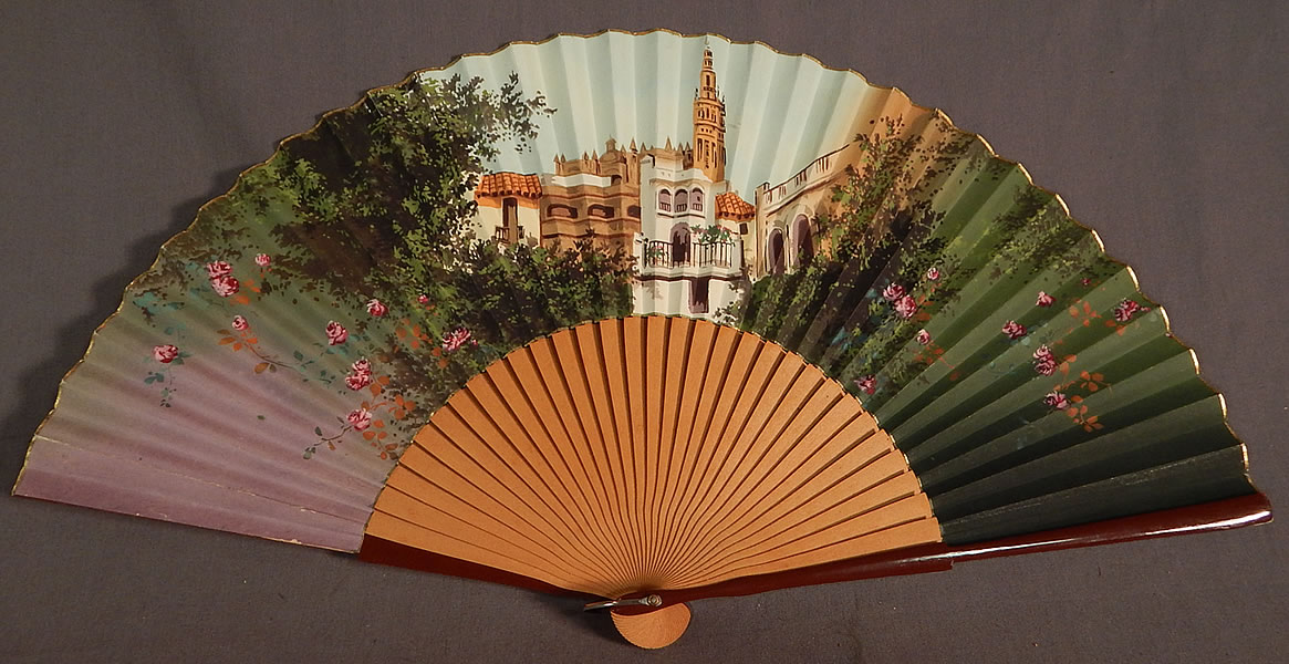 Vintage Hand Painted Pleated Paper Seville Spain Cathedral Souvenir Folding Fan