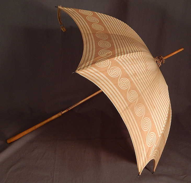 Victorian Brown Spiral Striped Cotton Wood Handle Summer Beach Parasol