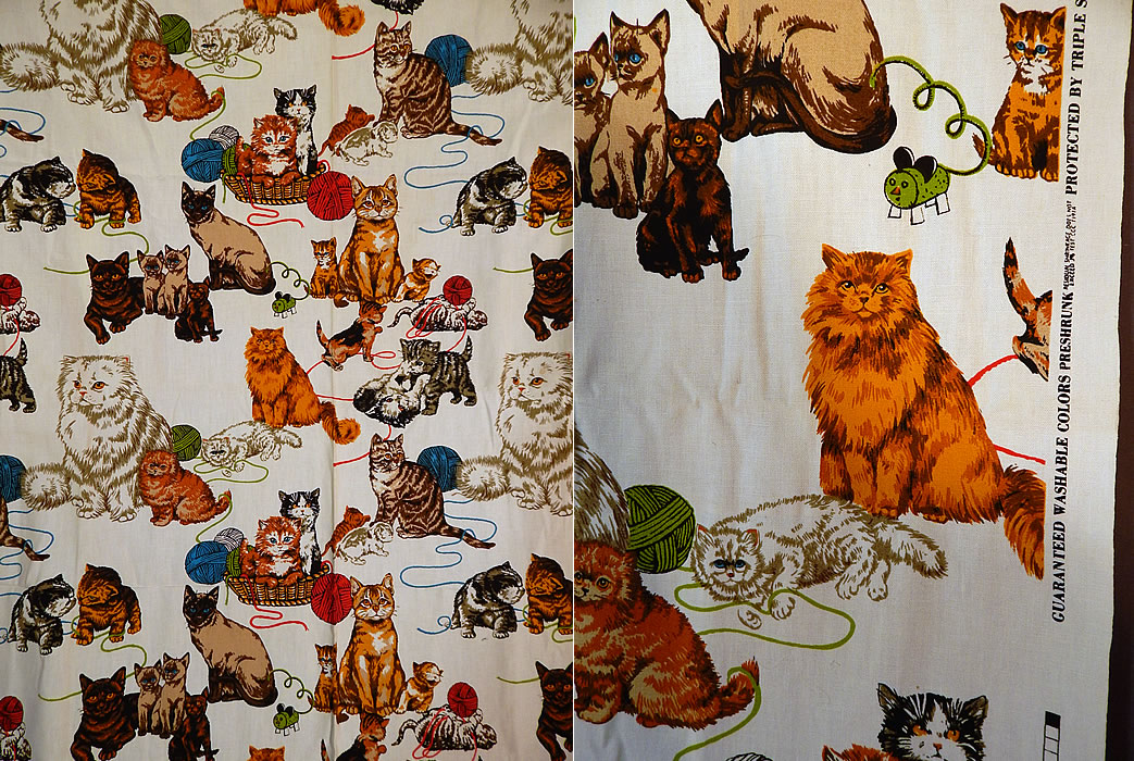 Vintage Unused Cotton Canvas Kitty Cat Kitten Novelty Screen Print Fabric Yardage