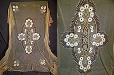 Antique Cream Net Tambour Embroidery Lace Daisies Drawn Cutwork Bedspread