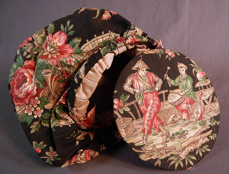 Vintage Antique Chinese Chinoiserie Chintz Print Round Sewing Bag Pouch Purse