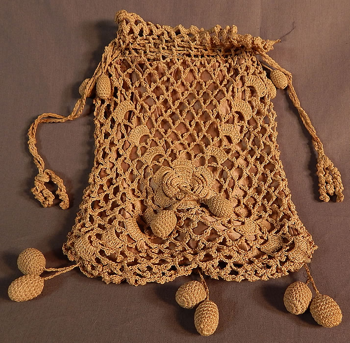 Edwardian Ecru Crochet Lace Ball Tassel Fringe Drawstring Pouch Purse Bag